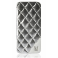 UUnique Metallic Quilted Glam Folio Hardshell for iPhone 5, 5S - Silver