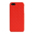 Verus Premium J Case Quilt Genuine Leather Case for iPhone 5, 5S, Red