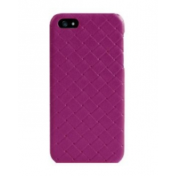 Verus Premium J Case Quilt Genuine Leather Case for iPhone 5, 5S, Purple