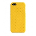 Verus Premium J Case Quilt Genuine Leather Case for iPhone 5, 5S, Yellow