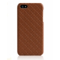 Verus Premium J Case Quilt Geniune Leather Case for iPhone 5, 5S, Brown
