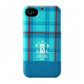 Zenus Check Print Bar Series for iPhone 4, 4S (Teal Blue)