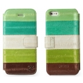 Zenus iPhone 5, 5S Leather Case Prestige Eel Seires Diary Series - Multi Green